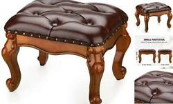 Small Foot Stool For Living Room Leather Ottoman Stools For Foot Rest Brown