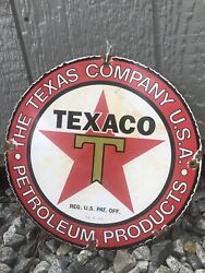 Vintage 1933 And039and039texaco Gasolineand039and039 Gas And Oil Pump Plate 12 Inches Porcelain