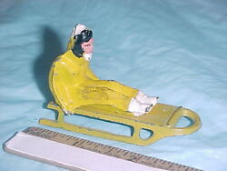 Vintage Barclay Girl In Yellow And White On Yellow Sled 498