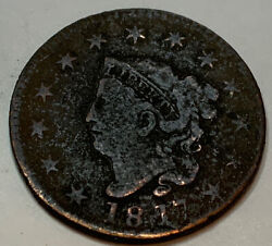 1817 Coronet Head Large Cent 13 Stars Rare Key Date Coin Off Center Stamp Rev A2