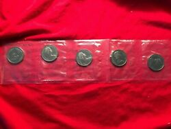 1968 Lot Of 5 New 1st Year Issue Nickel Voyageur Canoe Dollars Unc Mint Canada