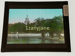 Glass Magic Lantern Slide Jnw Chinese China Tower From The River