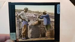 Colored Glass Magic Lantern Slide Gwr China Chinese Pulling From The Well Men