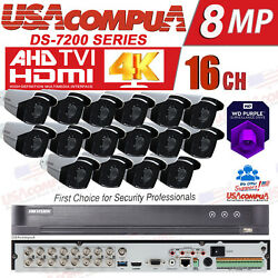 Hikvision Security System Cctv 16ch 5mp 4k Outdoor Ir40m Bullet Hdd Optional