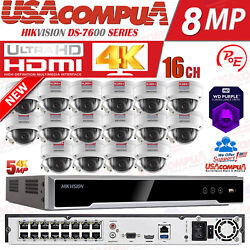 Hikvision Security System 5mp Nvr Poe Kit 16ch Poe H265+ Hard Disk Included