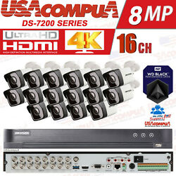 Hikvision Cctv Security System 16ch 5mp 4k Ir20m Mini Bullet Hdd Optional