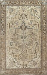 Antique Muted Geometric Traditional Oriental Area Rug Hand-knotted Wool 8x11 Ft