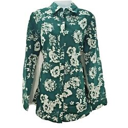 Roaman's Womens Top Long Sleeve Green Floral Button Down Blouse Size 12w New