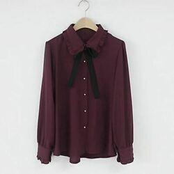 Bow Shirts Woman Long Sleeve Button Chiffon Embroidery Blouses Butterfly Sleeve