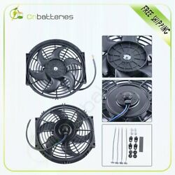 2x Universal 10 Inch Radiator Condenser Cooling Fan For Gmc Canyon Envoy Xuv