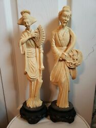 Vintage Fu Manchu Oriental Royals Statues Chinese Asian Couple On Pedestal 14