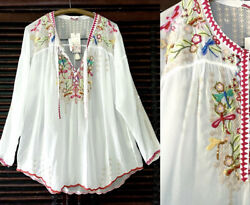 265 Nwt M-l Johnny Was White Embroidered Tunic Blouse 3/4 Or Long Sleeves Cupra