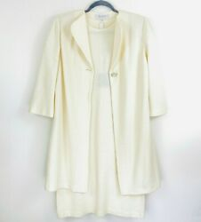 St John Collection Cream Waffle Knit Cap Sleeve Dress And Topper Duster Coat New 8