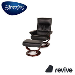 Stressless Memphis Leather Armchair Black Incl. Stool Function Relaxfunktion