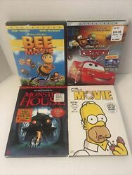 Animated Movies Dvd Lot Cars, Bee Movie, Monster House, And The Simpsons Movie