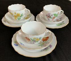 Meissen Flower Bouquet And Gold Color Trio Cup Saucer Plate