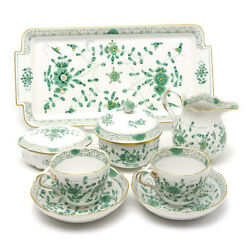 Price Used/pawn Shop Meissen Indian Hua Tea Set Points Green Gold Color