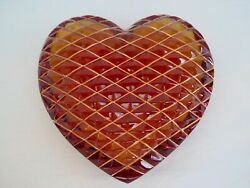 Lovely St. Louis Crystal Red Heart Quilted Paperweight 24k Gold Leaf France