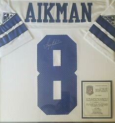 Troy Aikman Autographed And Framed White Cowboys Jersey