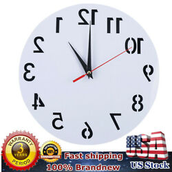 HOT SELL Funky Modern Clock Acrylic Counter Clockwise WhiteBlack Number