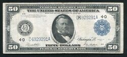 Fr. 1039a 1914 50 Fifty Dollars Frn Federal Reserve Note Cleveland,oh Very Fine