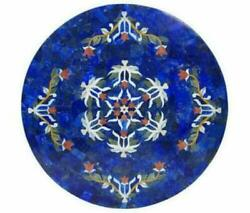 42'' Antique Marble Table Top Dining Coffee Center Round Inlay Blue Lapis Mosaic