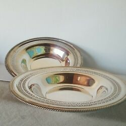 2 Silver Plate Wm Rogers Bowl Round Serving 12 Pattern-835 W/ Makers Marks