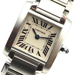 Watches Silver Ivory Stainless Steel Tank Francaise Square Women 061737