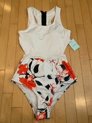 Cupshe Miss U White One Piece Bathing Suit Sz M Medium New 39 Floral Red/green
