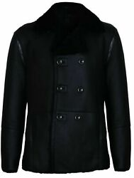 Mens Black German Double Breasted Real Sheepskin Shearling Leather Jacket Coat
