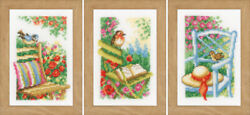 Vervaco Counted Cross Stitch Miniature Kit Set Of 3 Garden Chairs 3.2 X 4.8
