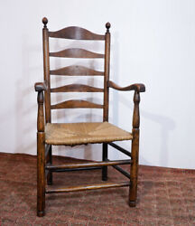 English Elm Ladderback Armchair With Rush Seat, Turned Knobs, C.1800