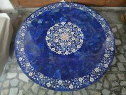42 Antique Marble Table Top Dining Coffee Inlay Blue Lapis Round Mosaic