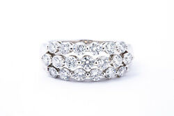 Three 3 Diamond Line Cluster 9mm Band 18k 750 White Gold Ring Size 8 1/4