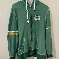 Womens Large Majestic Green Bay Packers Zip Up Hoodie