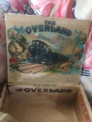 Early 1900s Andlsquooverlandandrsquo Steam Engine W/ Inner And Outer Labels Cigar Box
