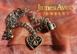 James Avery Double Curb Sterling Silver Charm Bracelet And 3 Charms, Retired Heart