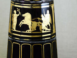 Antique Moser Art Glass Amethyst Faceted 14k Gold Neoclassical Tall Vase