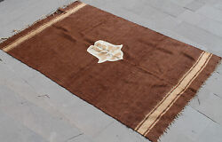 Turkish Rug 55''x87 Hand Woven Siirt Mohair Rug 140x222cm No Dyes