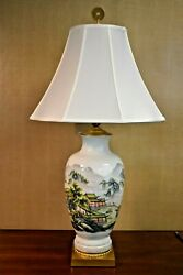 32 Fine Bone China Porcelain Vase Lamp Temple In The Mountains