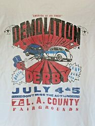 Lucky Brand Mens Wht T-shirt Skull Demolition Derby New With Defects Read