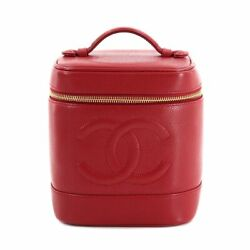 Caviar Skin Leather Vanity Hand Bag Red A01998 Purse Vintage 90128873