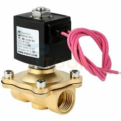 Brass Electric Solenoid Valve 110v Volt Ac 1/2 Inch N/c Water Air Gas Fuel Viton