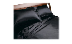 Satin Queen Sheet Set Soft Fitted Bed Sheets Luxury Silk Smooth Bedding Black 4