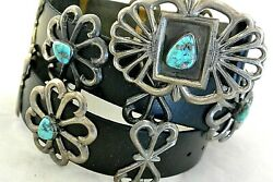 Dtb 16+ozt Navajo Concho Belt Cast Sterling Silver W/6 Morenci Turquoise Buckle