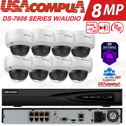 Hikvision 4 Channel 4k 8mp Poe Nvr 8x 4mp Ip Dome W Audio Cctv Security System