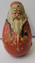 Antique Paper Mache Belsnickle Roly Poly Candy Container Santa With Contents