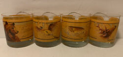 Vintage 4 Whiskey Tumblers O'brien Glasses Grizzly Pheasant Bass Deer Co400