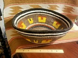 Unusual Old Large Wool Coiled Southwest Or Navajo Bowl Or Basket W Design