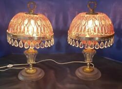 Pair Of Bohemian Czech Pink And Clear Crystal Cut Glass Table Lamp Pendants